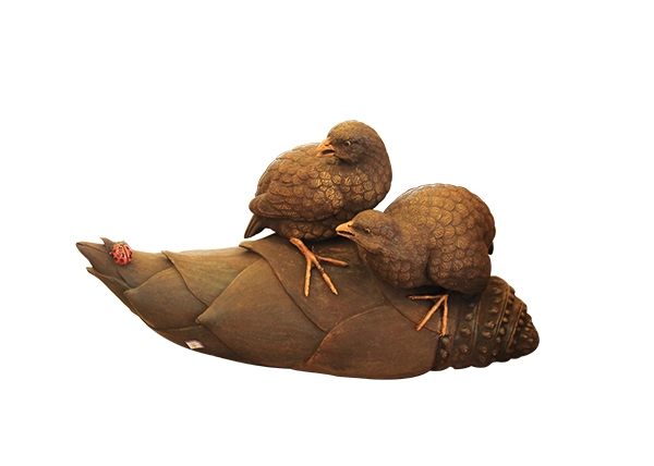金丝楠木工艺品-双鸟啃竹