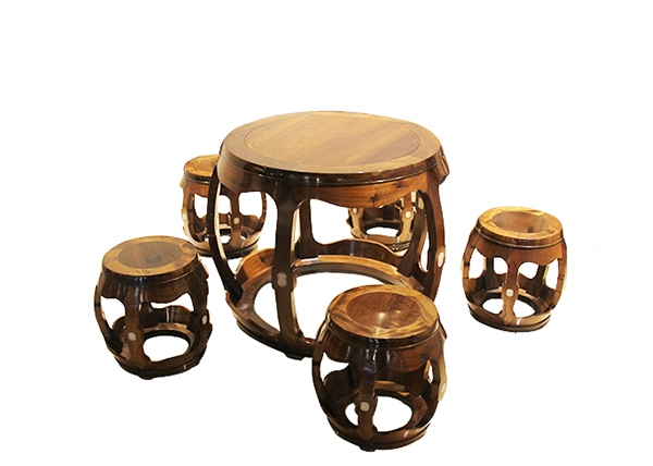 金丝楠木家具-乌木嵌玉福寿小圆桌